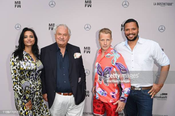 Amira Aly, Wilhelm Ehrlich, Oliver Pocher and Kena Amoa attend the Sportalm Kitzbuehel show during the Berlin Fashion Week Spring/Summer 2020 at...