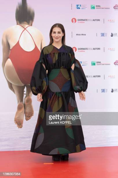 """Amira Casar attends Honey Cigar photocall at the """"Giornate degli Autori"""" during the 77th Venice Film Festival on September 2, 2020 in Venice, Italy."""