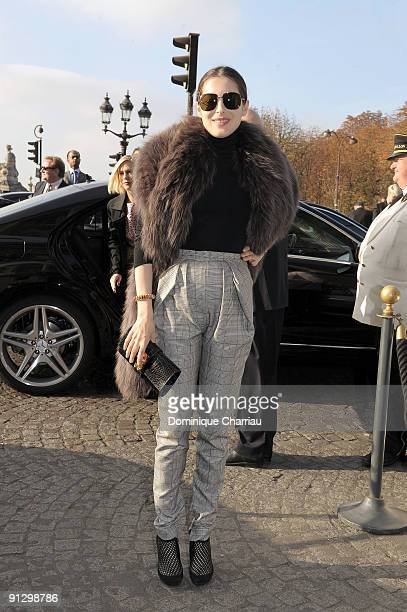Amira Casar attends the Balenciaga Pret a Porter show as part of the Paris Womenswear Fashion Week Spring/Summer 2010 on October 1 2009 in Paris...