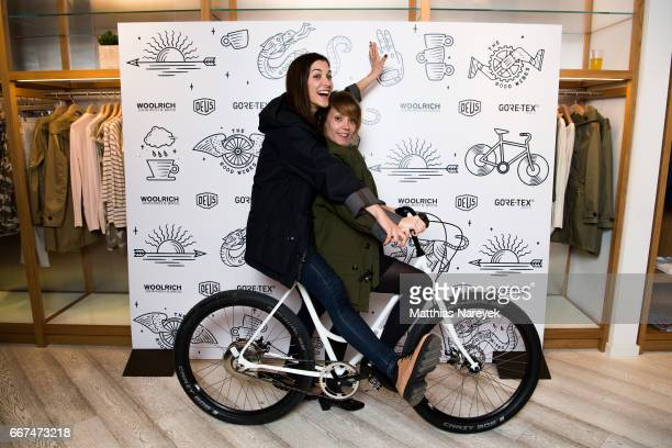 Amira El Sayed and Ophelia Rondeau attend the opening of the 'Good Wibes Bike Bar' to present the new ebike by Woolrich Deus at the Woolrich Store on...