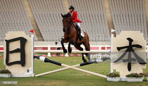 Amira Kandil of Team Egypt riding Pecora competes in the Riding Show Jumping of the Women's Modern Pentathlon on day fourteen of the Tokyo 2020...