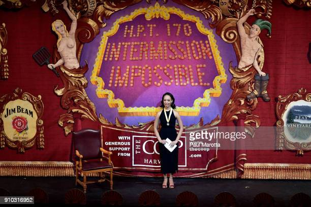 Amira Weeks president of the Hasty Pudding Theatricals speaks onstage during Hasty Pudding Theatricals Honors Mila Kunis as 2018 Woman Of The Year on...