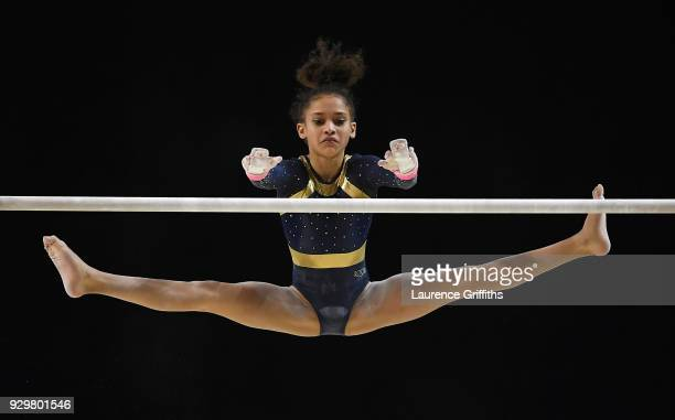 Amirah Blackman of Greenwich Royals performs on the Uneven Bars during The Women's Junior AllAround Subdivision 2 Round during the Gymnastics British...