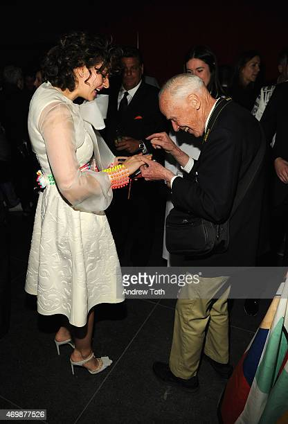 Amirah Kassem and Bill Cunningham attend the 5th Annual Brooklyn Artists Ball at Brooklyn Museum on April 15 2015 in New York