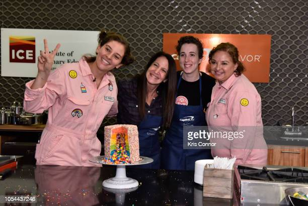 Amirah Kassem with guests attend the Cake Decorating Master Class at Institute of Culinary Education on October 13 2018 in New York City