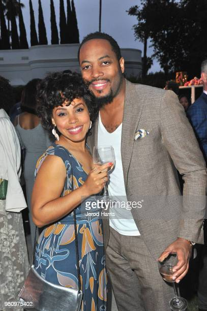 Amirah Vann and guest attend John Legend's launch of his new rose wine brand LVE during an intimate Airbnb Concert on June 21 2018 in Beverly Hills...