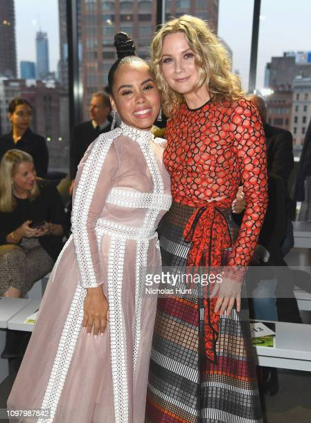 Amirah Vann and Jennifer Nettles attend the Bibhu Mohapatra front row during New York Fashion Week The Shows at Gallery II at Spring Studios on...