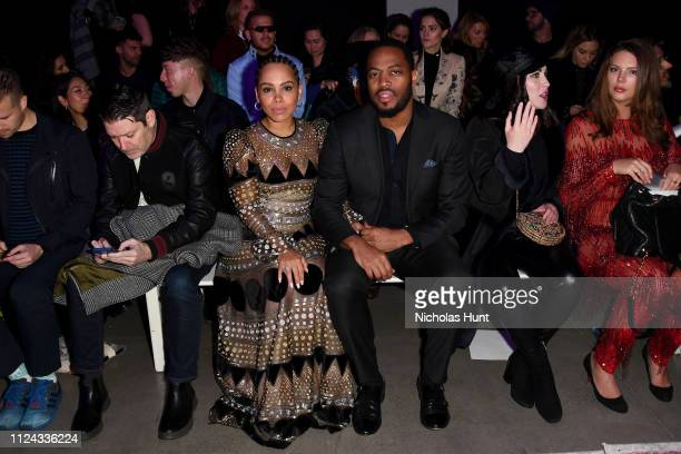 Amirah Vann and Patrick Oyeku attend the Naeem Khan front row during New York Fashion Week The Shows at Gallery I at Spring Studios on February 12...