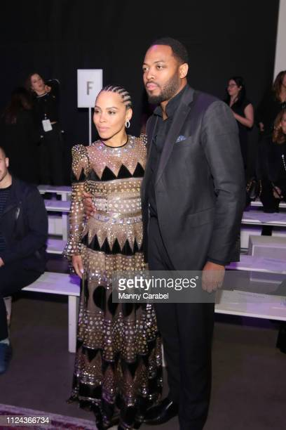 Amirah Vann and Patrick Oyeku attend the Naeem Khan runway show in Gallery I of Spring Studios during New York Fashion Week The Shows at Spring...