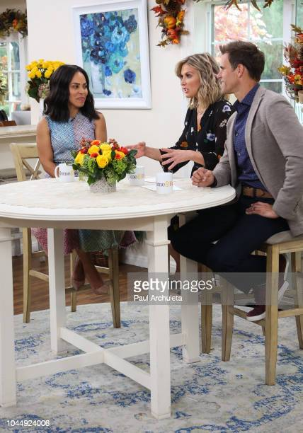 Amirah Vann Debbie Matenopoulos and Cameron Mathison on the set of Hallmark's 'Home Family' at Universal Studios Hollywood on October 2 2018 in...
