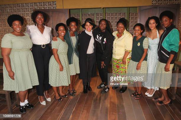 "Amirah Vann poses with the playwright Jocelyn Bioh and the cast backstage at the hit MCC comedy ""School Girls Or The African Mean Girls Play"" at The..."