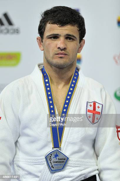 Amiran Papinashvili of Georgia poses after winning the u60kg silver medal during the Montpellier European Judo Championships on April 24 2014 at the...
