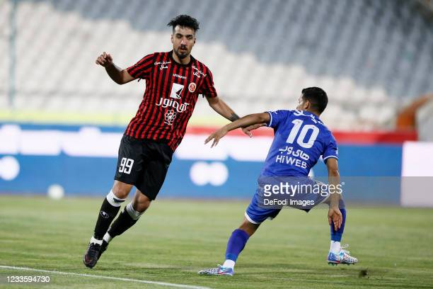 Amirhossein Karimi of Padideh looks on during the Persian Gulf Pro League match between Esteghlal and Padideh FC at Azadi Stadium on June 21, 2021 in...