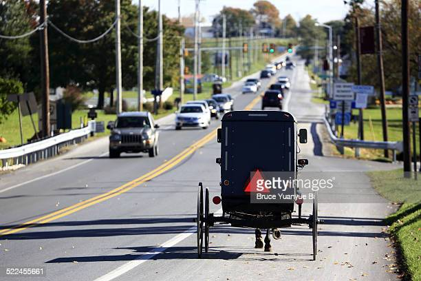 Amish buggy on local road