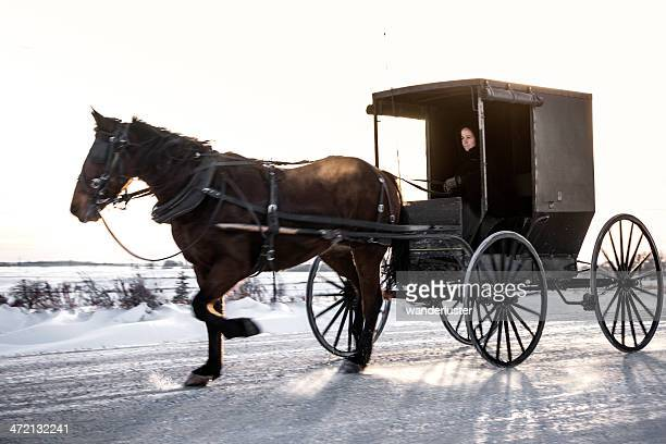 amish buggy traveling on snowy road - amish woman stock pictures, royalty-free photos & images