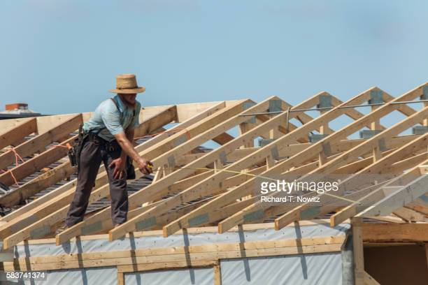 Amish Carpenter Builds Roof