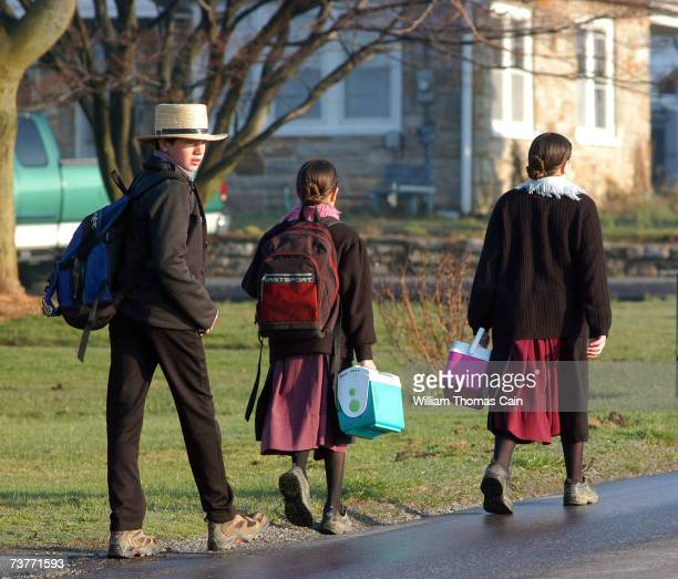 Amish children head to school April 2 2007 in Nickel Mines Pennsylvania The school opened six months from the day October 2 that ten of their fellow...