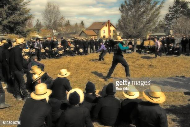 Amish Children Playing Dodge Ball