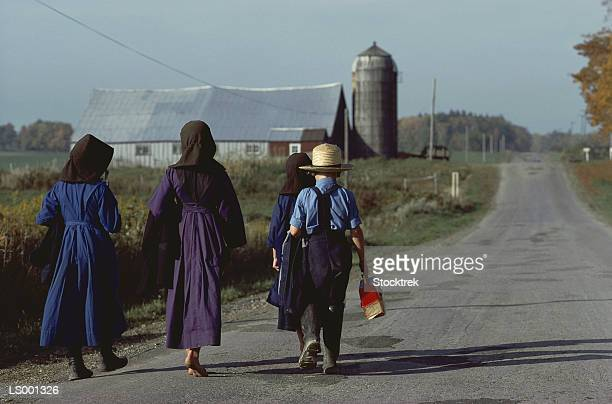 Amish Children Walking