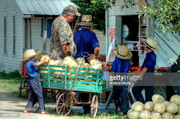Amish community selling some food.