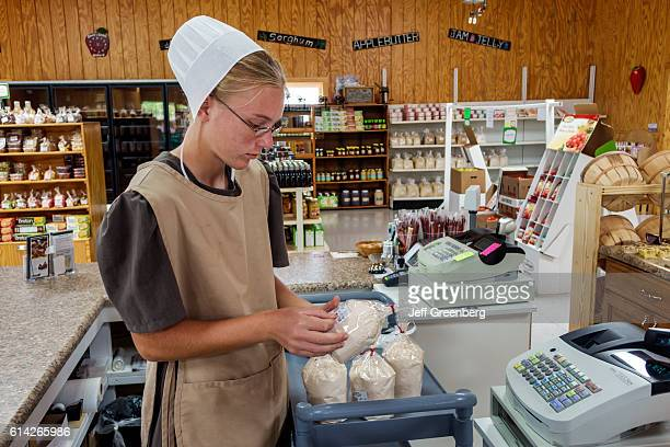 Amish employee in Shady Crest Orchard and Farm Market