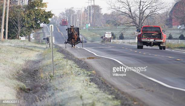 Amish Horse Buggy and Pickup Truck