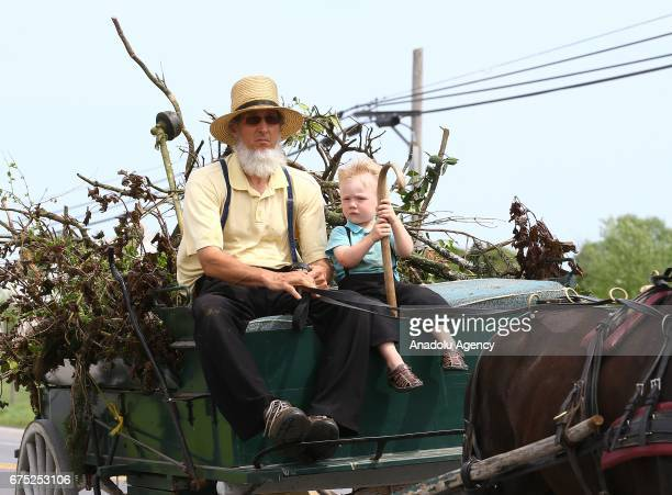 Amish man ride an amish horse with a boy in Central Pennsylvania United States on April 30 2017 Central Pennsylvania is home to an iconic set of...
