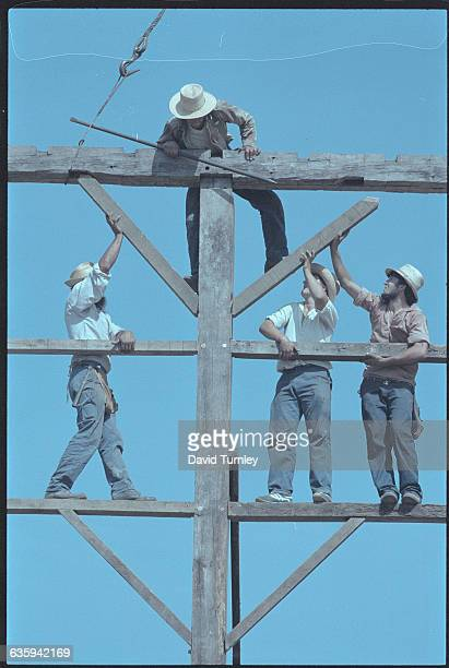 Amish Men Building a Frame