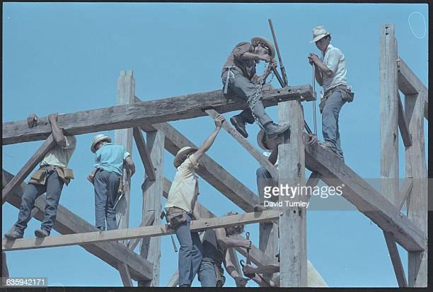 Amish Men Constructing a Building