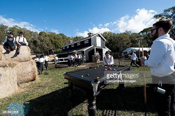 Amish people relax at the Amish barn during Splendour in the Grass on July 25 2015 in Byron Bay Australia