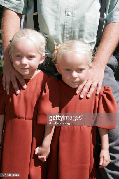 Amish twin girls at the Marshall County Blueberry Festival
