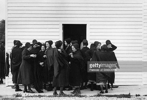 Amish woman after church in Lancaster Pennsylvania United States in 1983