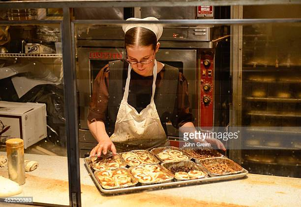 Amish woman making sticky buns at the Reading Terminal Market