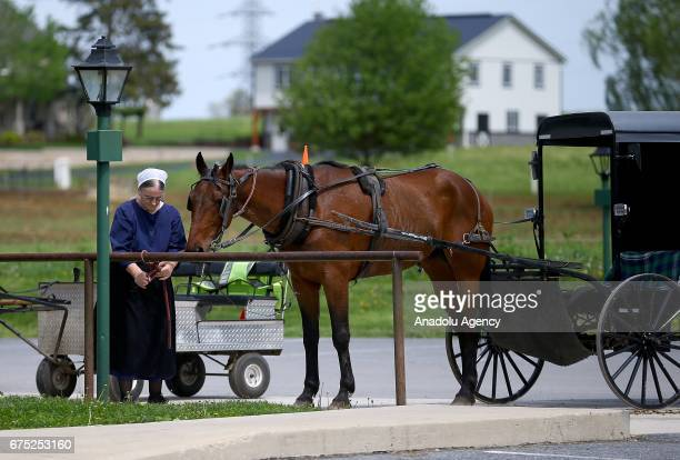 Amish woman ties up an Amish's rope in Central Pennsylvania United States on April 30 2017 Central Pennsylvania is home to an iconic set of plain...