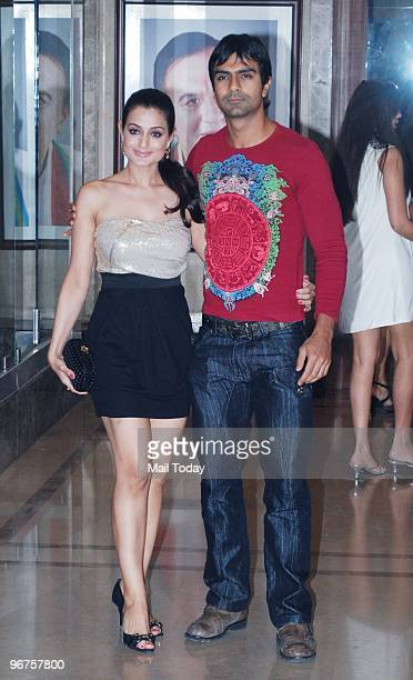 Amisha and Ashmit Patel at a party to celebrate the wedding anniversary of Sanjay and Maanyata Dutt in Mumbai on February 11 2010