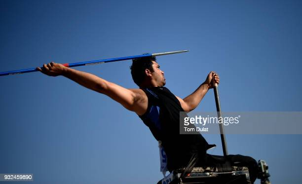 Amit Balyan of India competes in Javelin Wheelchair Men during the 10th Fazza International IPC Athletics Grand Prix Competition - World Para...