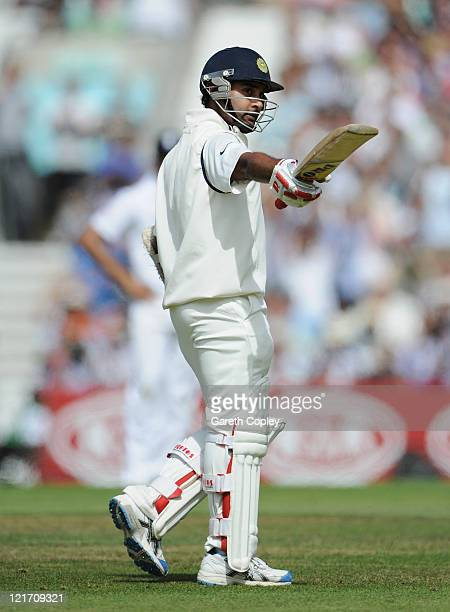 Amit Mishra of India acknowledges his half century during day five of the 4th npower Test Match between England and India at The Kia Oval on August...
