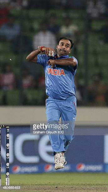 Amit Mishra of India bowling during the India v South Africa semi final match at ShereBangla Mirpur Stadium during the ICC World Twenty20 Bangladesh...