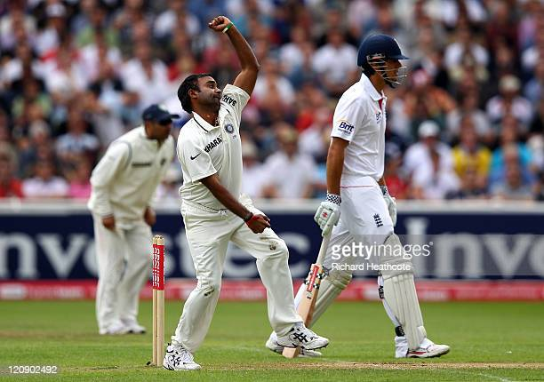 Amit Mishra of India bowls during day three of the 3rd npower Test at Edgbaston on August 12 2011 in Birmingham England