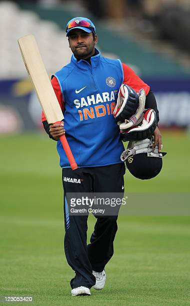 Amit Mishra of India during a nets session at Old Trafford on August 30 2011 in Manchester England