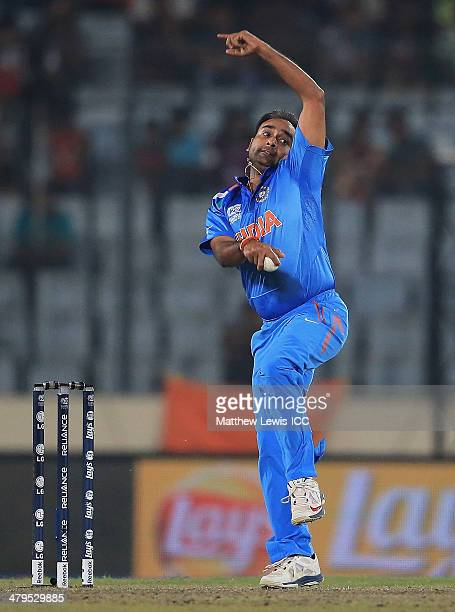 Amit Mishra of India in action during the ICC World Twenty20 Bangladesh 2014 Warm Up match between England and India at the Shere Bangla National...