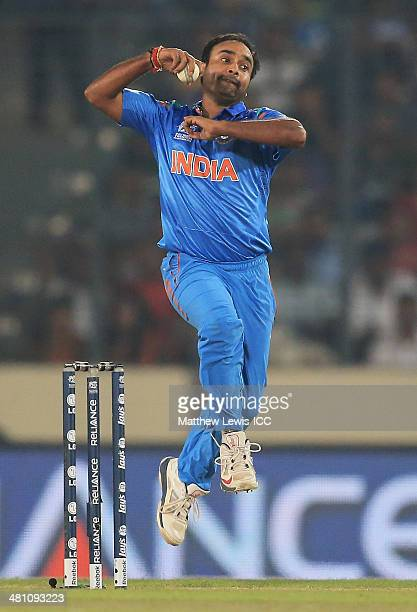 Amit Mishra of India in action during the ICC World Twenty20 Bangladesh 2014 match between Bangladesh and India at ShereBangla Mirpur Stadium on...