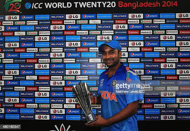 Amit Mishra of India pictured with the 'Man of the Match' award after the ICC World Twenty20 Bangladesh 2014 match between West Indies and India at...