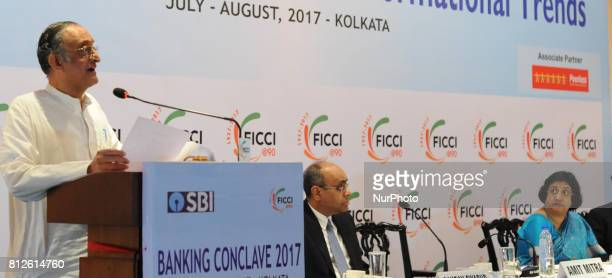 Amit Mitra State Finances Minister and Former Chairman of FICCI addressing at the 14th Banking Conclave2017 Special Session with SBI at city hotel on...