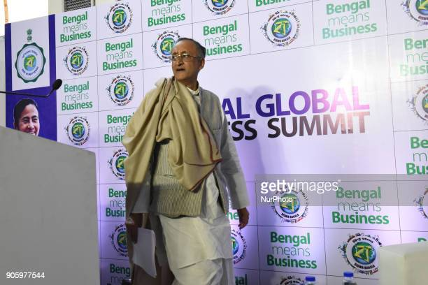 Amit Mitra State Finances Minister join the press biffing at The 2nd day of Bengal Global Business Summit on January 172018 in KolkataIndia