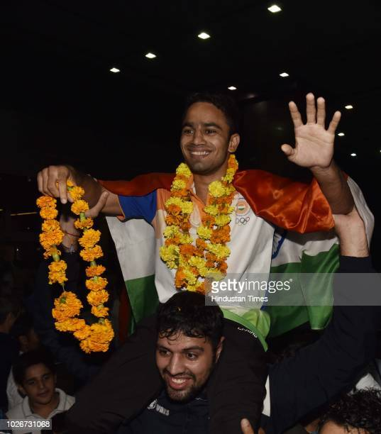 Amit Panghal who defeated reigning Olympic Champion Hasanboy Dusmatov to claim the gold medal in 49kg boxing at the Asian Games 2018 in Jakarta...