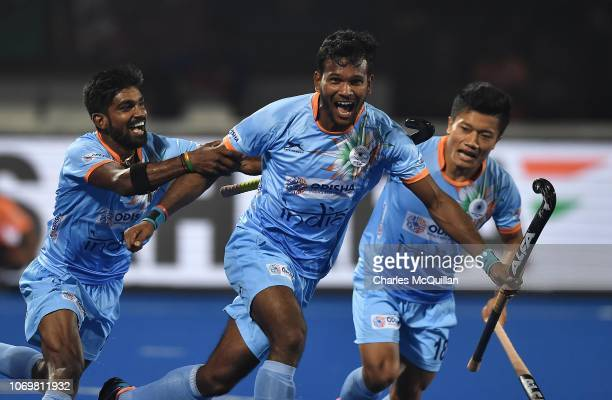 Amit Rohidas of India celebrates after scoring during the FIH Men's Hockey World Cup Pool C match between India and Canada at Kalinga Stadium on...