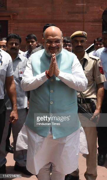 Amit Shah arrives to take charge as Minister of Home Affairs in newlyelected Prime Minister Narendra Modi's cabinet at North Block on June 1 2019 in...