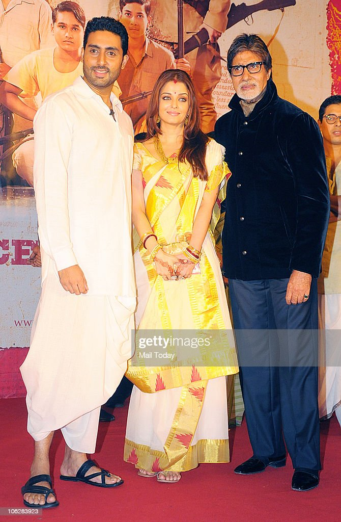 Amitabh Abhishek and Aishwarya Rai Bachchan during the music launch of the film `Khelein Hum Jee Jaan Sey` in Mumbai on October 27 2010