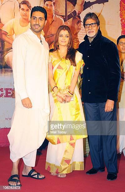 Amitabh Abhishek and Aishwarya Rai Bachchan during the music launch of the film 'Khelein Hum Jee Jaan Sey' in Mumbai on October 27 2010
